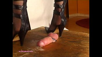 Beneath Indian Mistress Julie Singla'_s Soles who tramples cock with heeljob