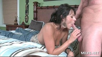 Cute mom giving blowjob and getting her fuck holes fingered