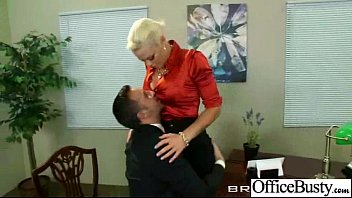 lovemaking gauze in office with huge obese melons.