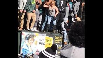 White Girl Shaking Titties at Philadelphia Eagles Super Bowl Celebration Parade