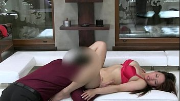 Asian babe with big tits fucking on bed