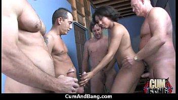 Interracial group blowjob from a ebony slut 23