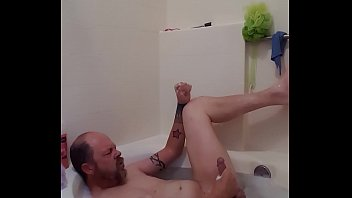 Tub strokin with cum squirts