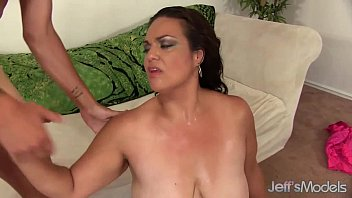 Brunette BBW Angelina takes a stiff cock in her pussy