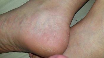 Cum on sleeping wife'_s feet