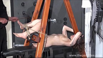 Feet whipping and amateur slave bondage of punished bdsm submissive Beauvoir in tied sextoys orgasm and foot fetish