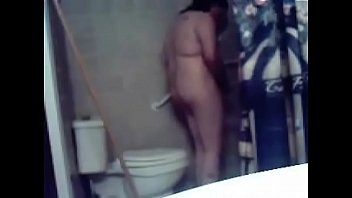 Horny sister masturbates in toilet. Hidden cam