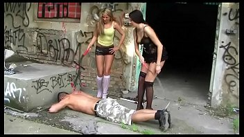 2 Young Mistresses in Stockings and Heels - Femdom, Footworship, Trampling